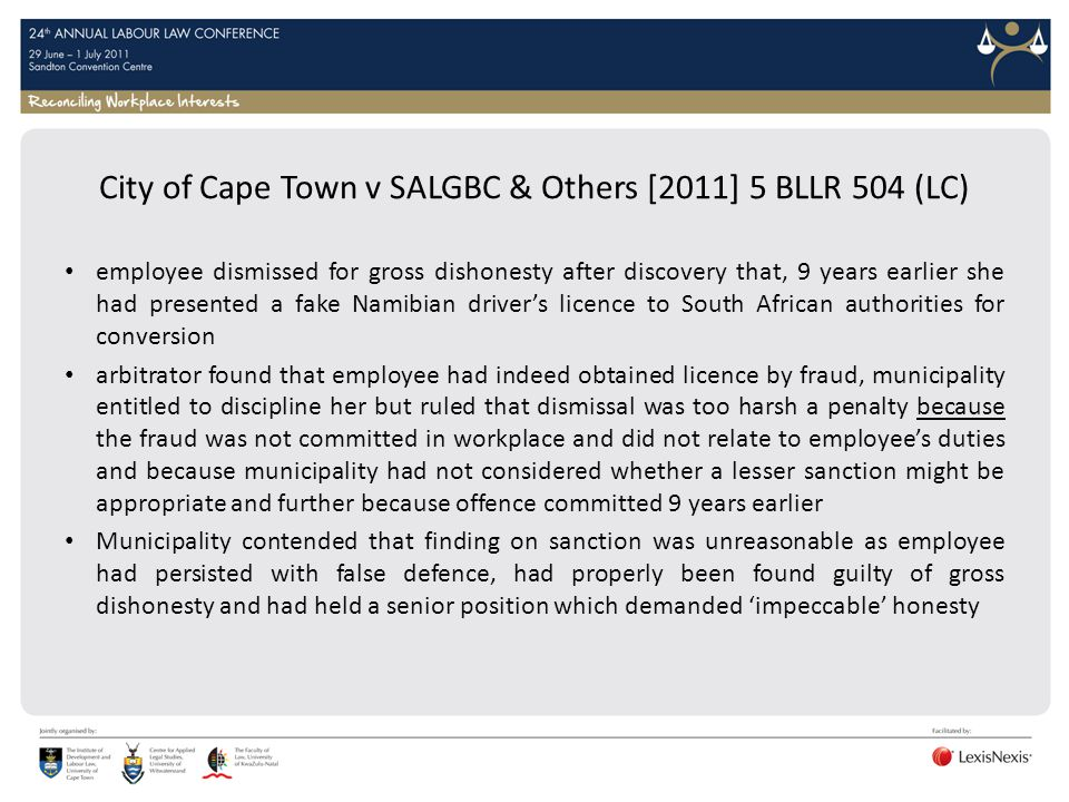 City of Cape Town v SALGBC & Others [2011] 5 BLLR 504 (LC)